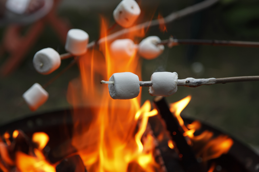 cooking smores camping