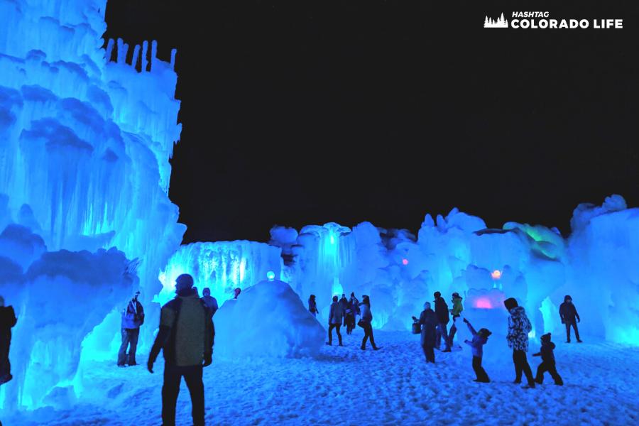 Ice Castles at night in Colorado