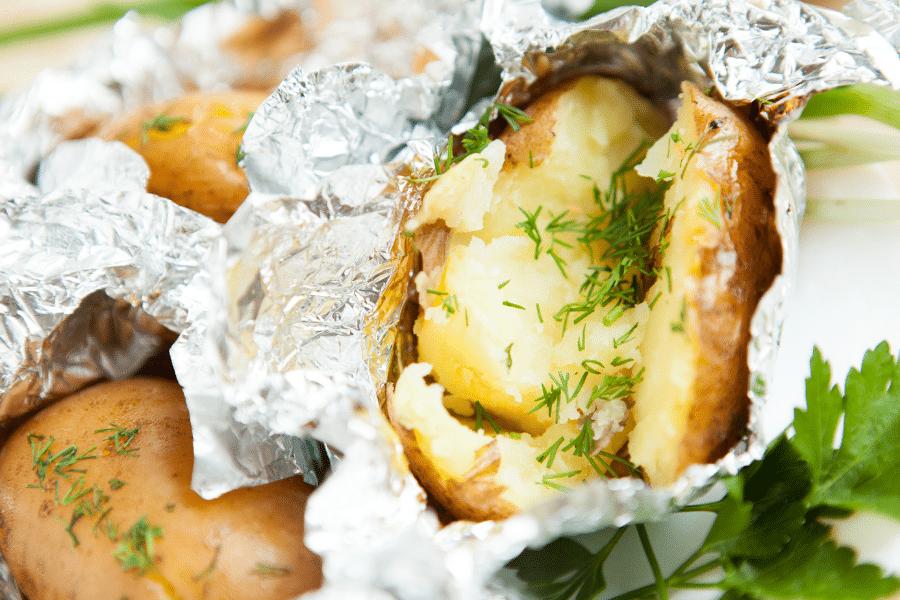 campfire baked potato foil