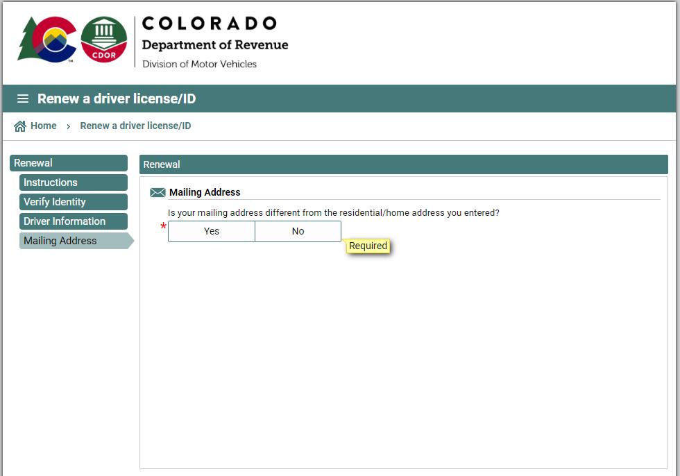 colorado dmv - confirm address
