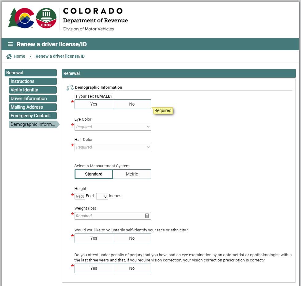 colorado dmv - demographic info