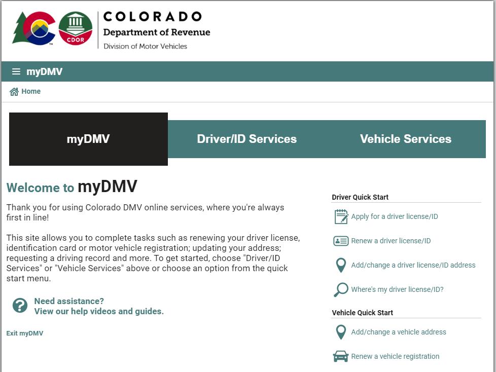 colorado dmv - online renewal