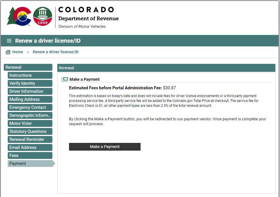 colorado dmv - payment