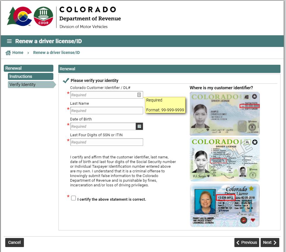colorado dmv - verify your identity