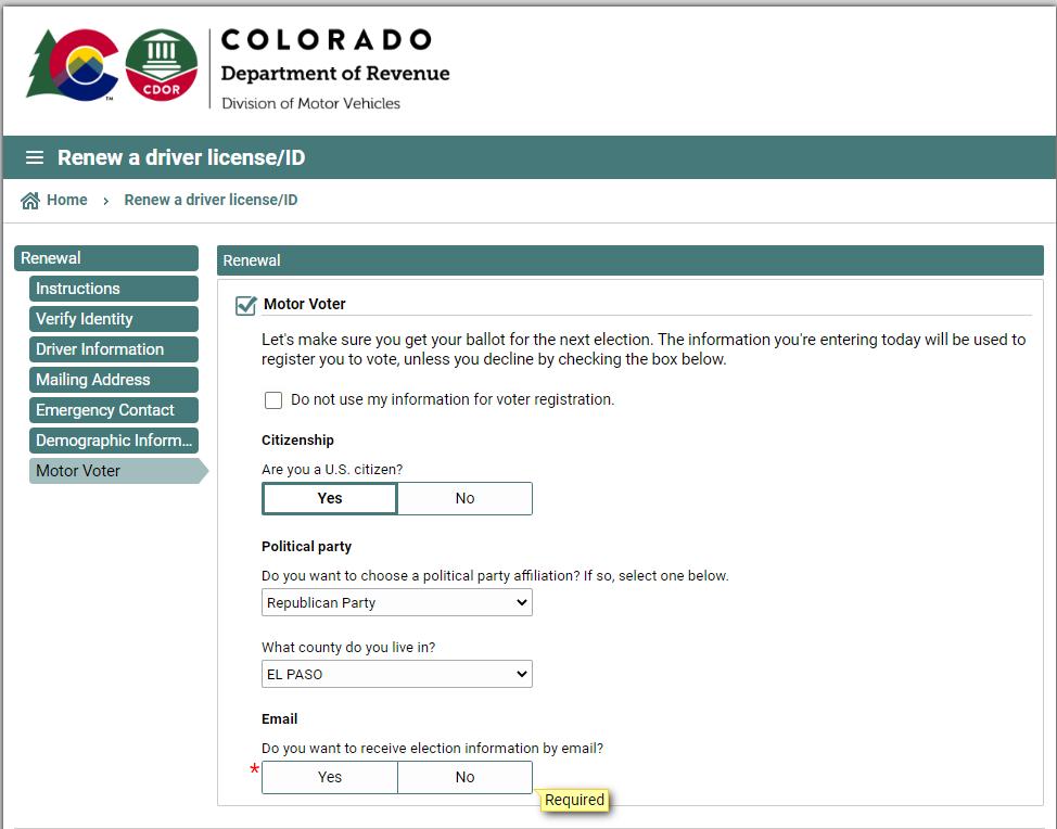 colorado dmv - voter registration