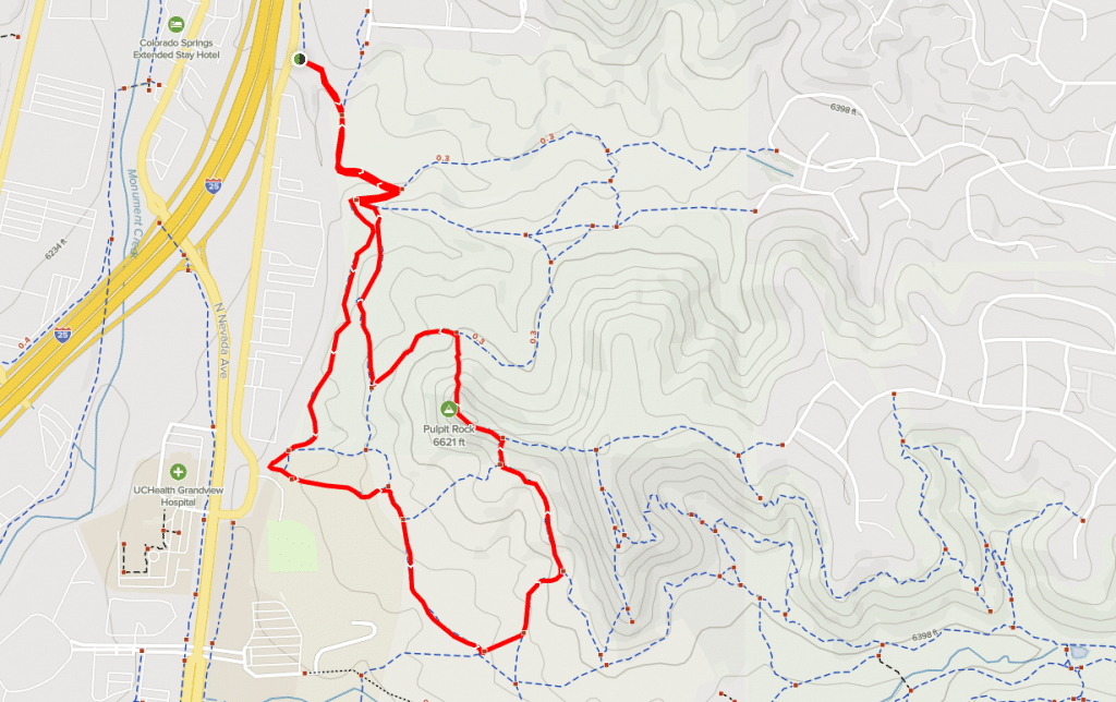 pulpit rock peak loop austin bluffs open space trail map