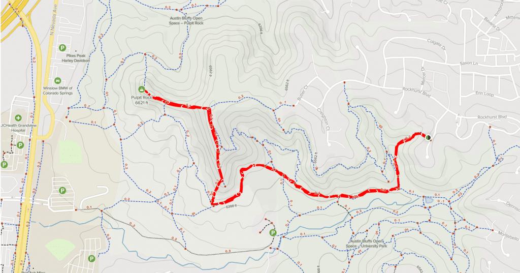 pulpit rock via wittenberg trail map austin bluffs open space