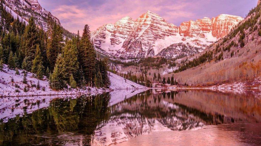 maroon bells at sunset